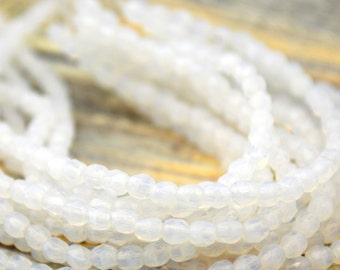 MILKY WHITE Czech Glass Beads, 3mm Facet Firepolished, Faceted Round, Qty 50 Small Bead