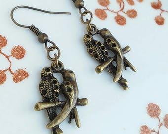 Two Birds Earrings Bronze Charm Antique Bronze Jewellery Gift Bird Lovebirds Wings