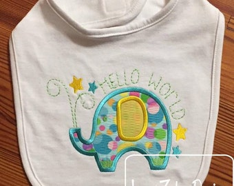Elephant Hello World appliqué embroidery design - elephant appliqué design - baby appliqué design - zoo appliqué design - safari appliqué