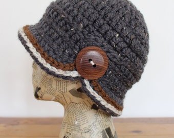 Grey Crocheted Cloche with Wooden Button