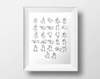 Sign Language Print, Vintage Nursery Decor, Alphabet Print, Vintage Illustration, Black & White Poster, 5x7 8x10 11x14 16x20 18x24 24x30