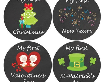 Baby monthly sticker, 12 First Holiday Stickers, Milestone stickers, Baby Holiday Stickers, My first Christmas, Holiday stickers set, M100