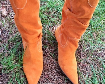 Vintage 90's Mustard Orange Leather Point Toe Heeled Boots