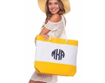 Fabulous Beach Tote in Yellow with Embroidery Personalization