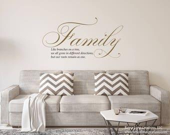 Gold Livingroom Vinyl Sign- Family Like Branches on a Tree Wall Decal- Gold Wall Decal- Gold Living Room Decal- Gold Living Room Sticker