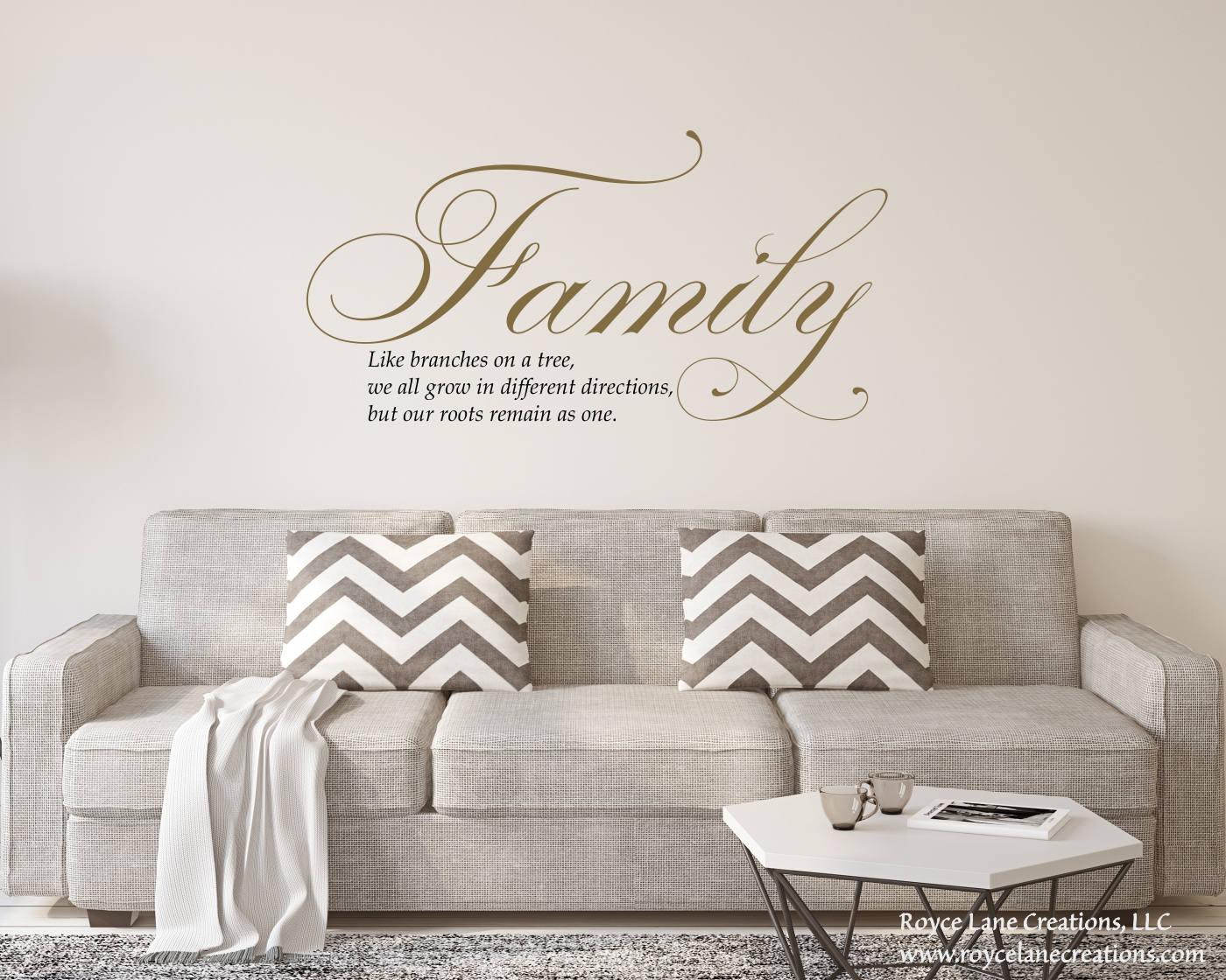 Gold Livingroom Vinyl Sign  Family Like Branches On A Tree Wall Decal  Gold  Wall Decal  Gold Living Room Decal  Gold Living Room Sticker