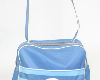 Vintage KLM Royal Dutch Airlines Zipper Carry On Travel Bag Purse Blue and White