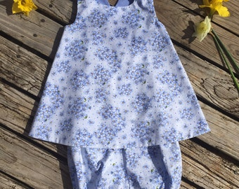 Dress and Bloomers baby girl, periwinkle  floral sundress set, size 18 months  handmade