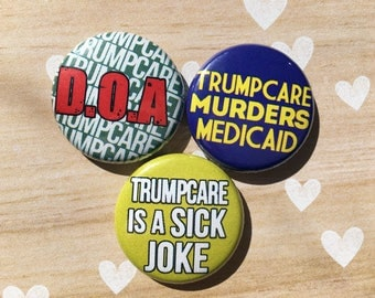 TrumpCare Medicaid Medicare Spoonie- one inch pinback button magnet