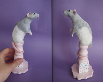 OOAK pet rat polymer clay sculpture