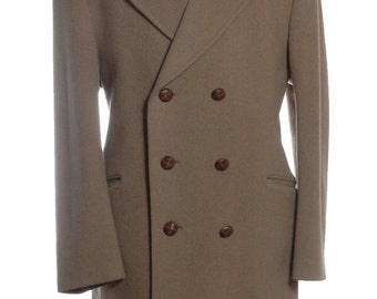 Vintage 1960's Dunn & Co Double Breasted Wool Coat L - www.brickvintage.com