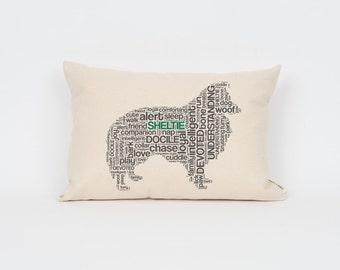 Sheltie Pillow 12x18 // Sheltie Art // Sheltie Mom // Dog Breed Pillow // Dog Mom // Dog Breed Art // Gift for Dog Lover // Pet Gift