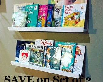 Book ledge set of 2, Plate Shelf, save, bookshelf, children's room, book corner, white shelf, kids room, for kids, nursery, gift idea, baby
