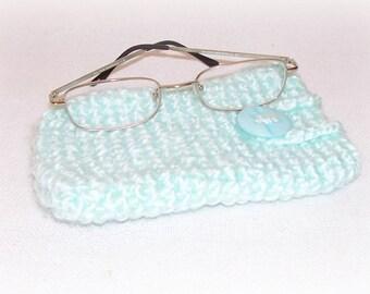 Eye Glass Holder Pastel Green Crochet Eye Glass Case Eye Glass Purse Multiple Use Ipod IPhone Cell Phone Gift Hand Crochet Pouch