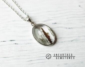 Lodolite Necklace - 925 Sterling Silver Gemstone Necklace, Geometric Jewelry, Geometric Necklace, 925 Crystal Necklace