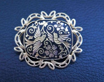Vintage Damascene Brooch Very Beautiful With Birds And Flowers