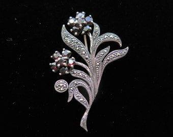 Vintage Art Deco Sterling Silver Flower Bouquet Brooch With Garnets And Marcasite
