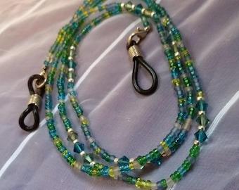 Beaded Eyeglass Chain Aqua and Green With Swarovski Crystals