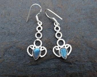 Blue Labradorite Earrings, Labradorite Silver Earrings , Labradorite Jewelry, Wiccan Jewelry, Gift for Her