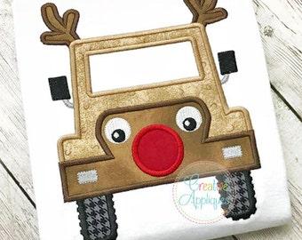 Jeep Reindeer Applique Digital Machine Embroidery Design 4 Sizes, reindeer applique, reindeer embroidery, reindeer truck applique, rudolph