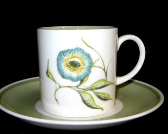 Vintage  Wedgwood,  Bone China, Tea Cup & Saucer,  Susie Cooper, Signed, 1960s Katina Pattern Coffee, Demitasse, Espresso, Tea Party, Picnic