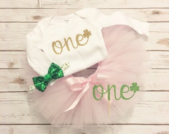 First Birthday Outfit Girl - Shamrock - St Patricks Day - Green and Pink - Shamrock First Birthday - St Patricks Day First Birthday