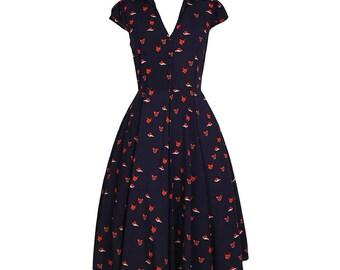 Dark blue dress, V neck dress, Foxes dress, Rockabilly dress, Party dress, Vintage dress, Full skirt dress, Shirt dress, Holiday dress MS131