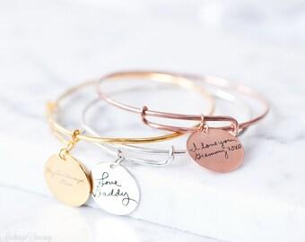 SALE 20%* Engraved Signature Disc Bracelet - Actual Handwriting Bracelet - Expandable Bracelet - Custom Disc Bracelet