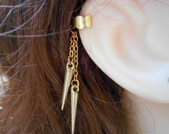 Spiked Drop Ear Cuff - Gold plated - No Upper Ear Piercing Required
