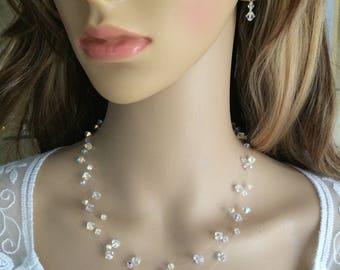 AB Swarovski Crystal illusion necklace wedding necklace 3 strand dainty bridal necklace bridesmaid necklace Illusion jewelry bride JEWELLERY