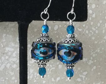 SRA Dichroic Glass Earrings - Teal and Cobalt Blue Dichroic Lampwork Glass Bead Earrings-Handmade Lampwork  Earrings-Lampwork Bead- Evil Eye