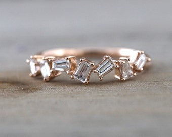 14k Rose Gold Dainty Baguette Cut Rectangle Diamond Band Stackable Design Ring Wedding Twist