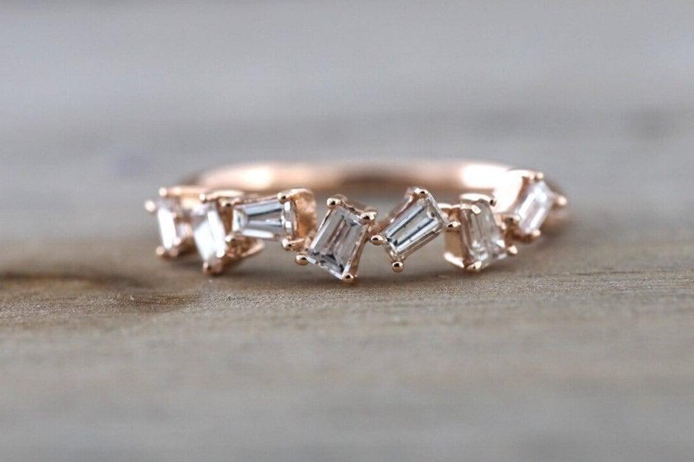 14k Rose Gold Dainty Baguette Cut Rectangle Diamond Band