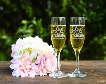 Star Wars Inspired Toasting Flutes - I Love You I Know Toasting Flutes - Champagne Flutes
