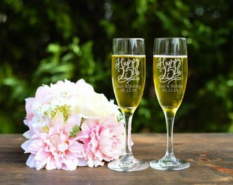 Happy 25th Toasting Flutes - 25th Anniversary Toasting Flutes - Champagne Flutes - Set of Two