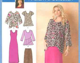 2013 Women's Pants, Loose-Fitting Tunic and Knit Tank Dress or Top UC FF Size 20W,22W,24W,26W,28W - Simplicity  Sewing Pattern 1622