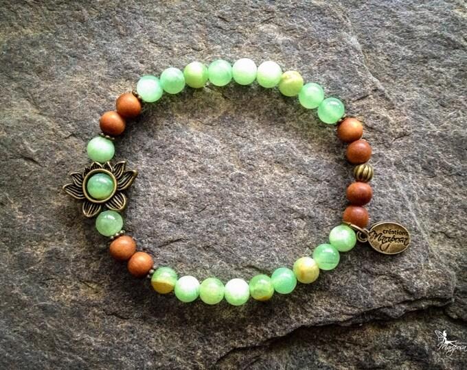 Jadeite yoga intention Lotus stone bracelet Chakra Mala yoga jewelry handmade by Creations Mariposa BI6-JL