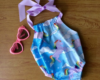Baby girls  playsuit,handmade baby girls romper , unicorn fabric  , size 0-3 months. Sunsuit, halter ties.
