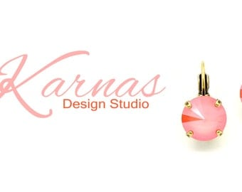 20% Sale! LIGHT CORAL Lacquer Pro 12mm Stud or Drop Earrings Swarovski Crystal *Pick Your Finish *Karnas Design Studio *Free Shipping