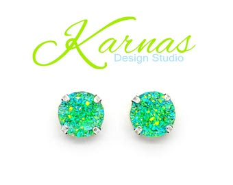 GREEN WITH ENVY 12mm Stud or Drop Earrings Sparkly Faux Druzy *Pick Your Metal *Karnas Design Studio *Free Shipping*