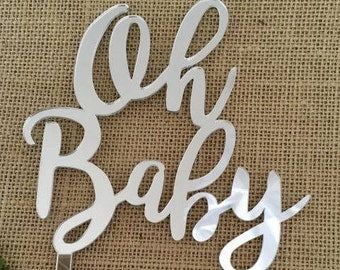 Oh Baby Silver Mirror Wedding Baby Shower Cake Topper