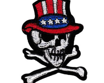 Large USA Tophat Skull Biker Patch 9cm Applique