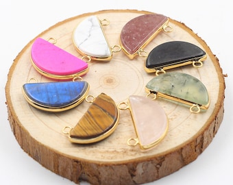 5 Pieces Half Moon Pendants -- With Electroplated Gold Edge Charm Wholesale YHA-079