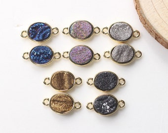 SALE Rough Tiny Druzy Oval Connectors -- Druzzy Drusy With Electroplated Gold Edge Charms Wholesale Supplies YHA-012