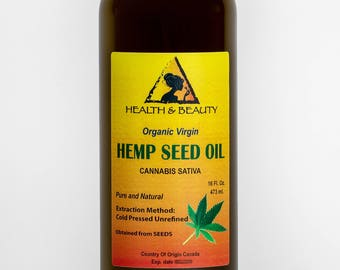 16 oz HEMP SEED OIL Unrefined Organic Carrier Cold Pressed Virgin Raw Pure