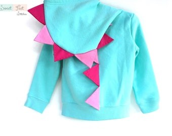 2T Aqua Dinosaur Hoodie with Pink Spikes