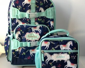 Pottery Barn Kids personalized girls backpack, Monogrammed Backpack, Horses Backpack, Embroidered Backpack, Navy prancing horses