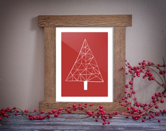 Instant download, Abstract Christmas Tree, Red print, Holiday print, red Christmas art, Festive home decor