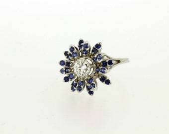 Sapphire and Diamond Flower Ring 14K