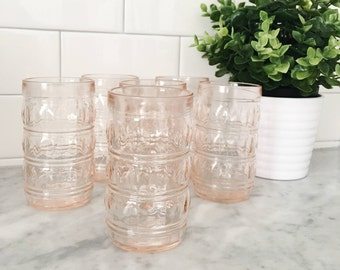 Mid-Century Faceted Pink Glass Tumblers by Francesinho Brazil. (Set of 6)